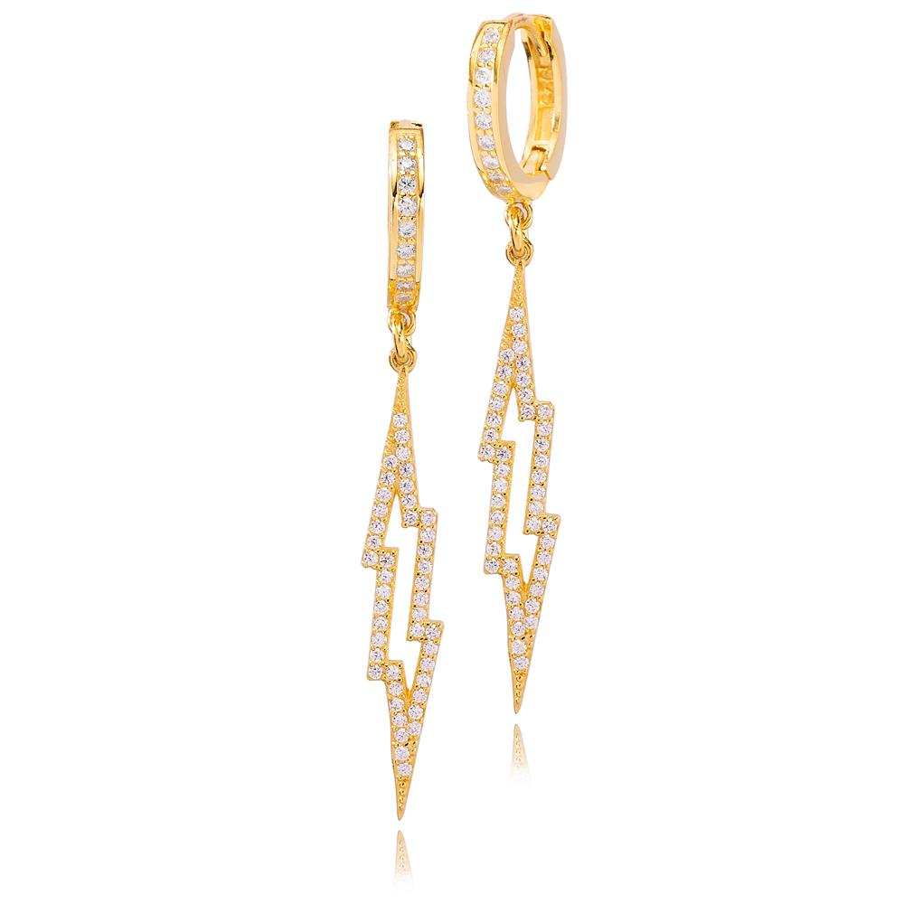 Trendy Lightning Design Zircon Stone Dangle Earrings Turkish Wholesale Handmade 925 Sterling Silver Jewelry