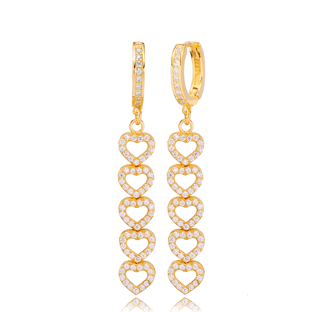 Multi Heart Charm Design Zircon Stone Dangle Long Earrings Turkish Wholesale Handmade 925 Sterling Silver Jewelry