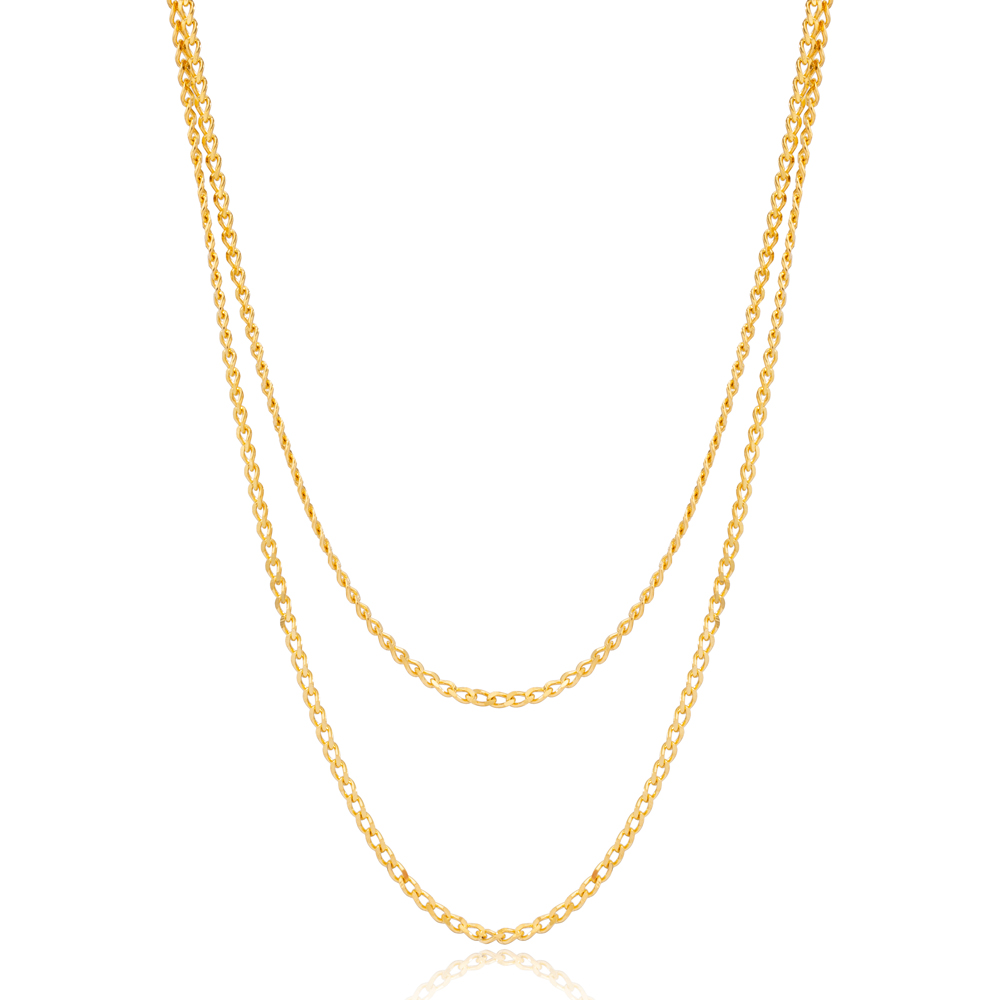 Casual Style Double Chain Layered Gourmet Chain Turkish Wholesale 925 Sterling Silver Necklace Jewelry