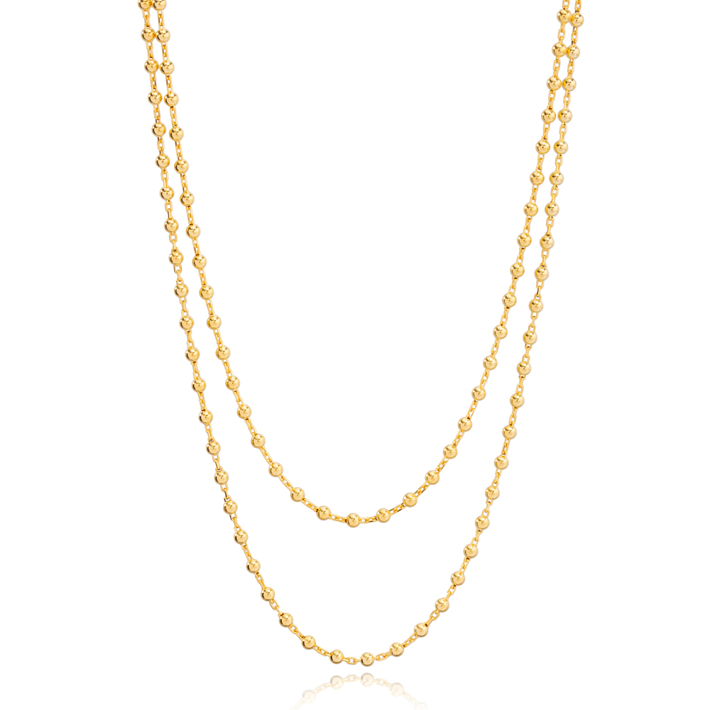 Double Ball Chain Layered Necklace Turkish Wholesale Handcrafted 925 Sterling Silver Jewelry