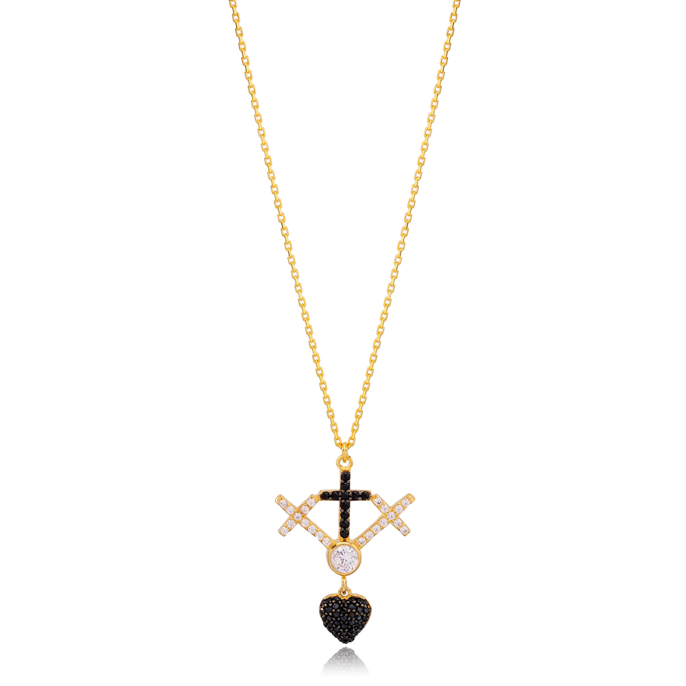 Unique Cross Design Black and White Zirconia Charm Pendant Necklace Turkish 925 Sterling Silver Jewelry