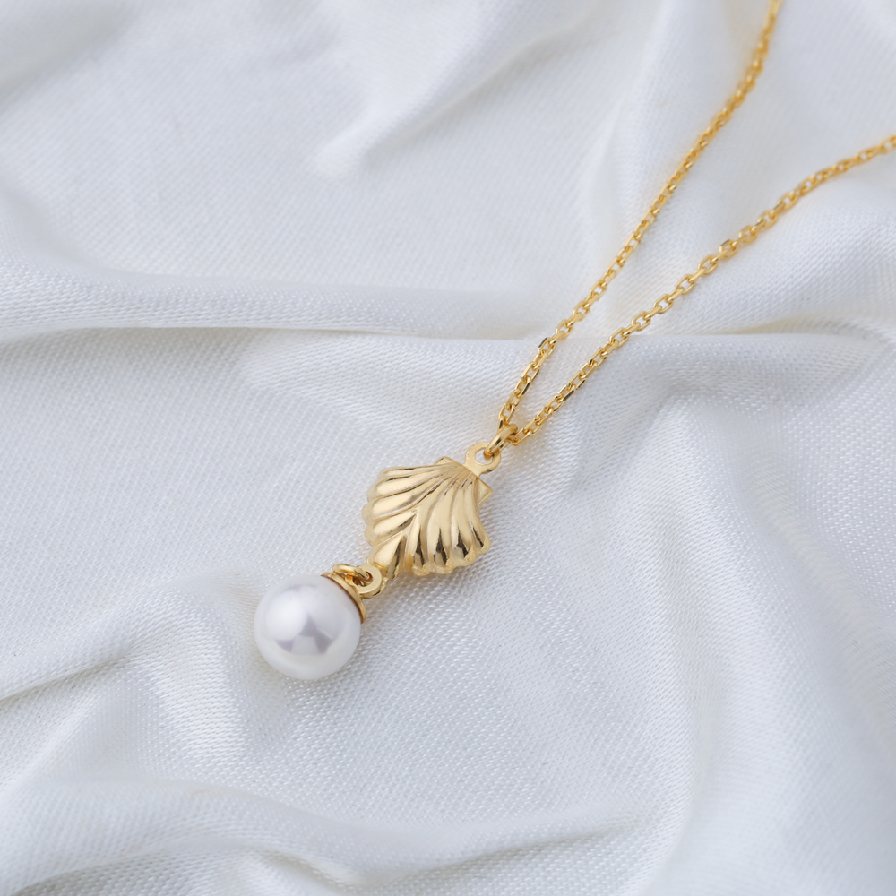 Seashell Design Pearl Pendant Necklace Turkish Handmade 925 Sterling Silver Jewelry