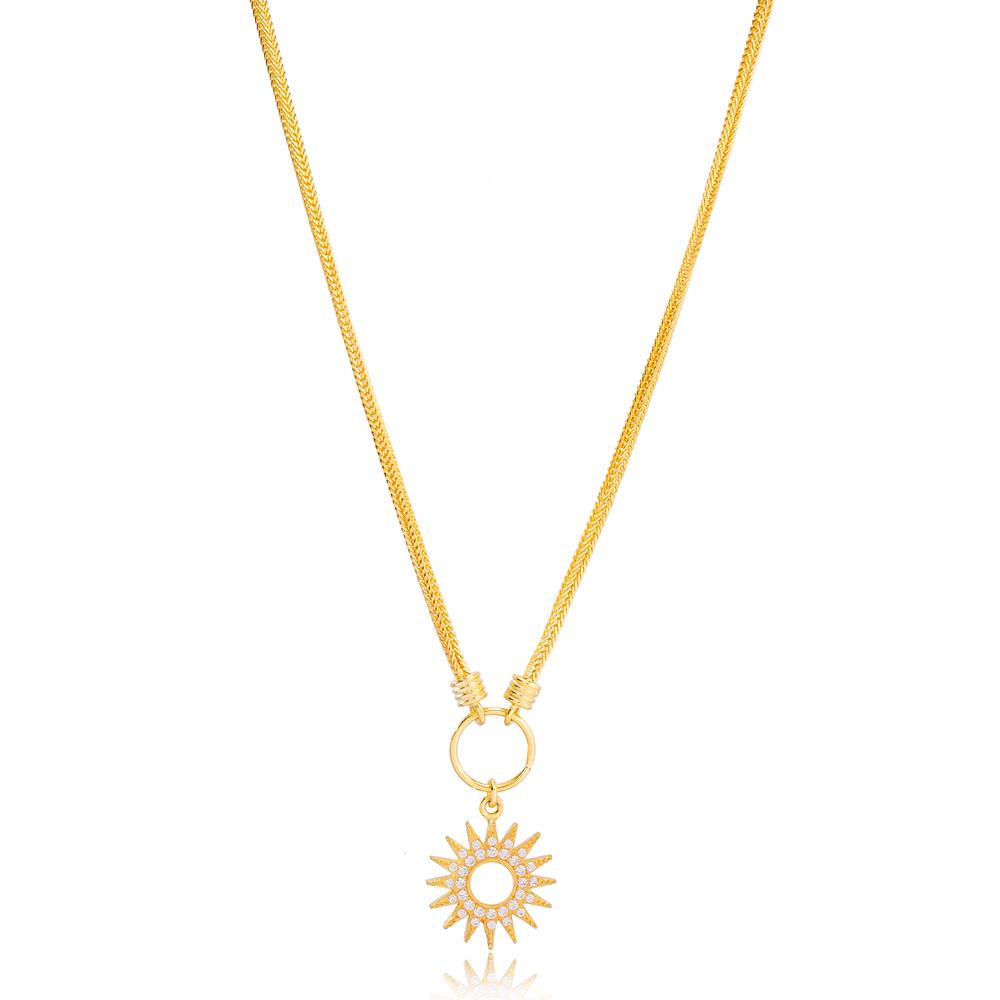 Sun Design Zircon Stone Hollow Trendy Pendant Necklace Turkish 925 Sterling Silver Jewelry