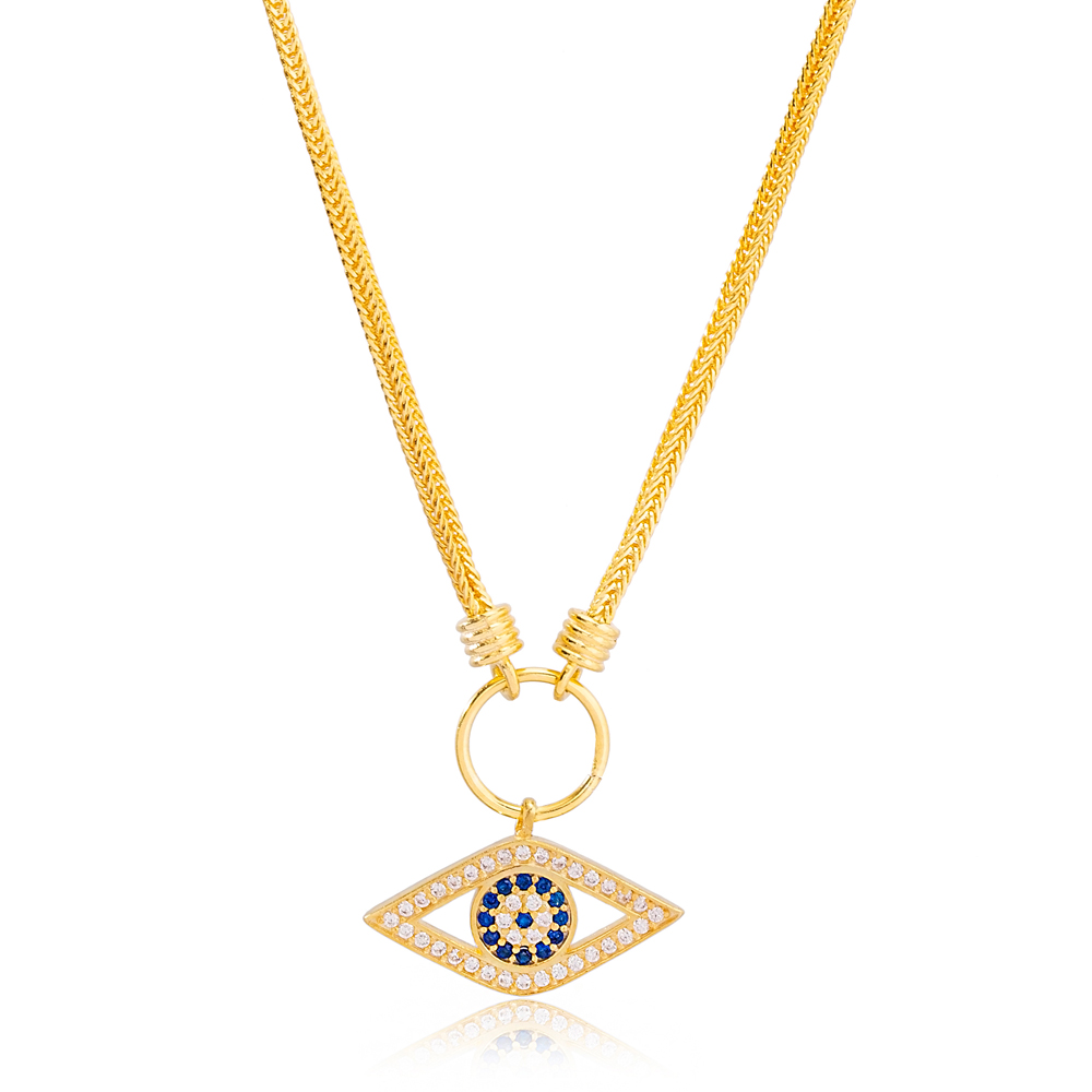 Best Selling Eye Design Pendant Necklace Turkish 925 Sterling Silver Jewelry