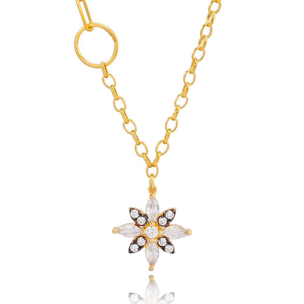 White and Black Zircon Flower Charm Link and Cable Chain Pendant Necklace Turkish 925 Sterling Silver Jewelry