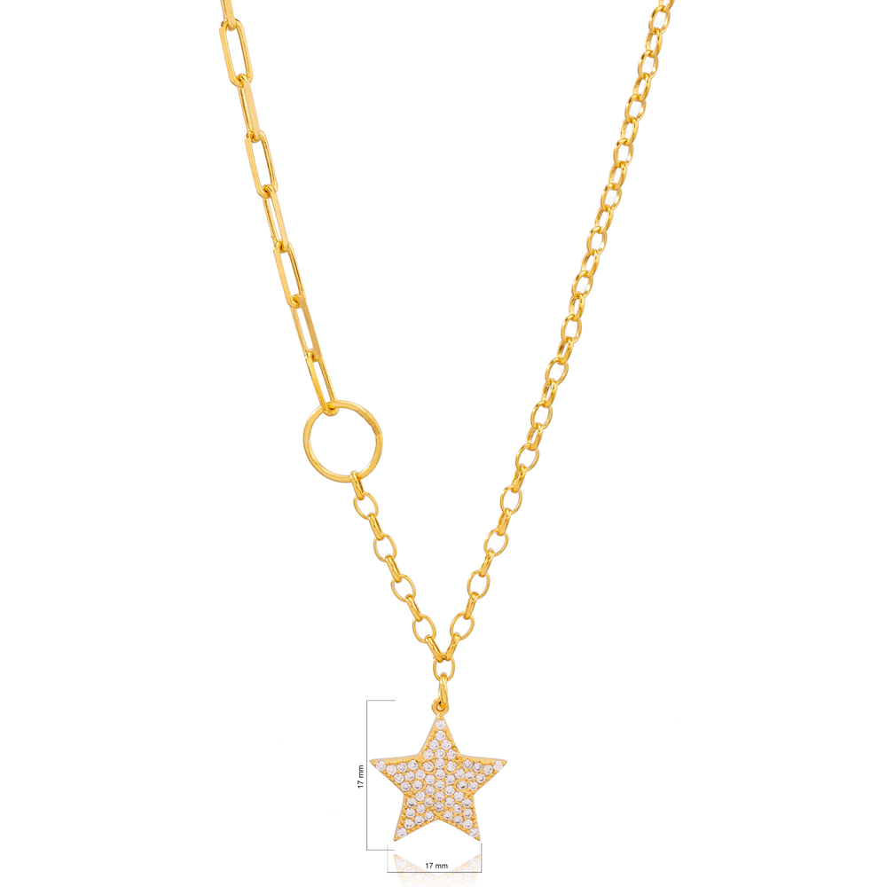 Dainty Zircon Stone Star Charm  Link and Cable Chain Pendant Necklace Turkish 925 Sterling Silver Jewelry
