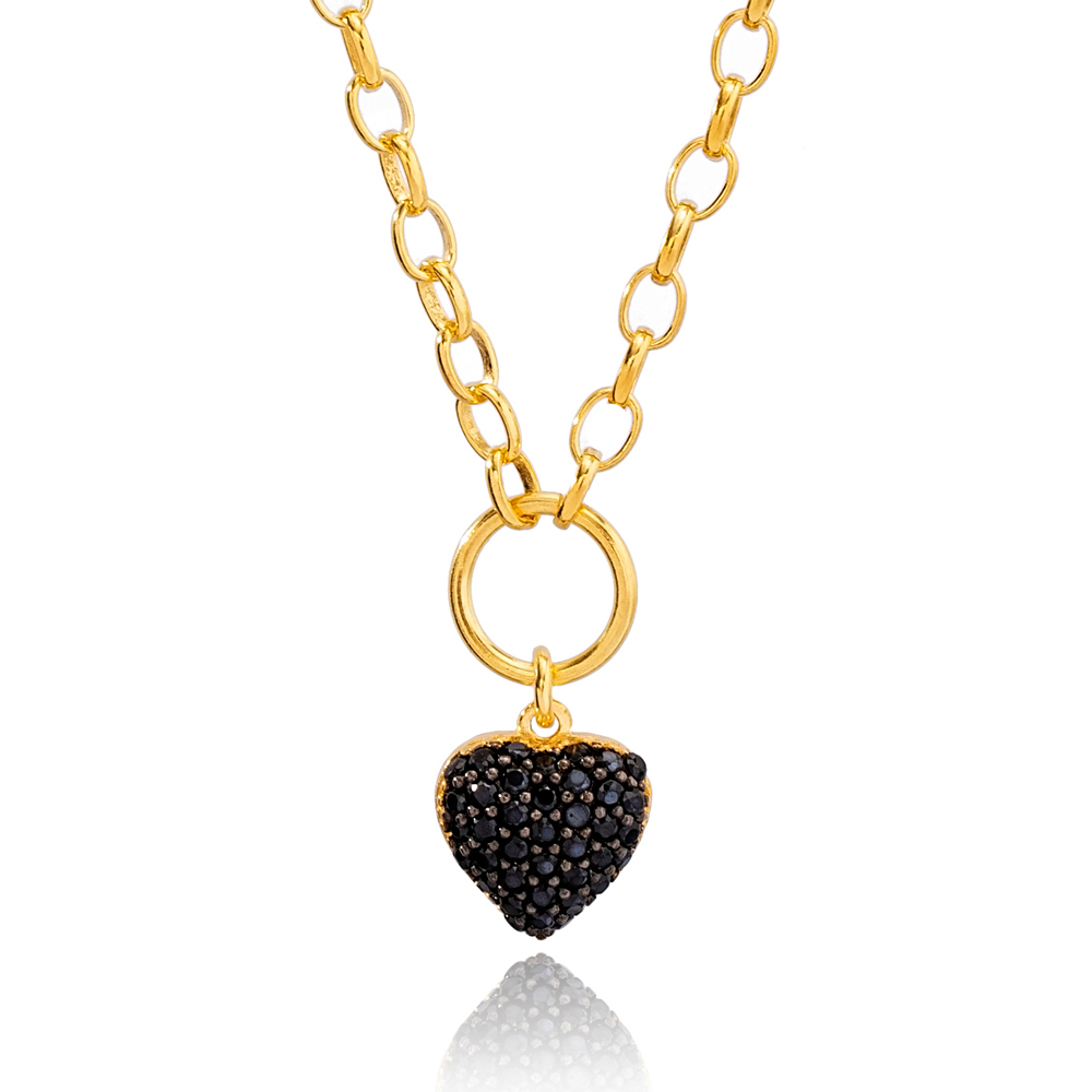 Heart Charm Black Zircon Hollow Cable Chain Pendant Necklace Turkish 925 Sterling Silver Jewelry