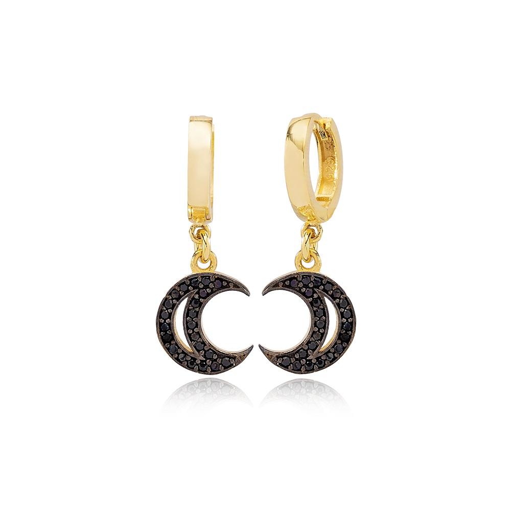 Trendy Black Zircon Moon Design Ø12mm Hoop Dangle Earrings Turkish Wholesale Handmade 925 Sterling Silver Jewelry