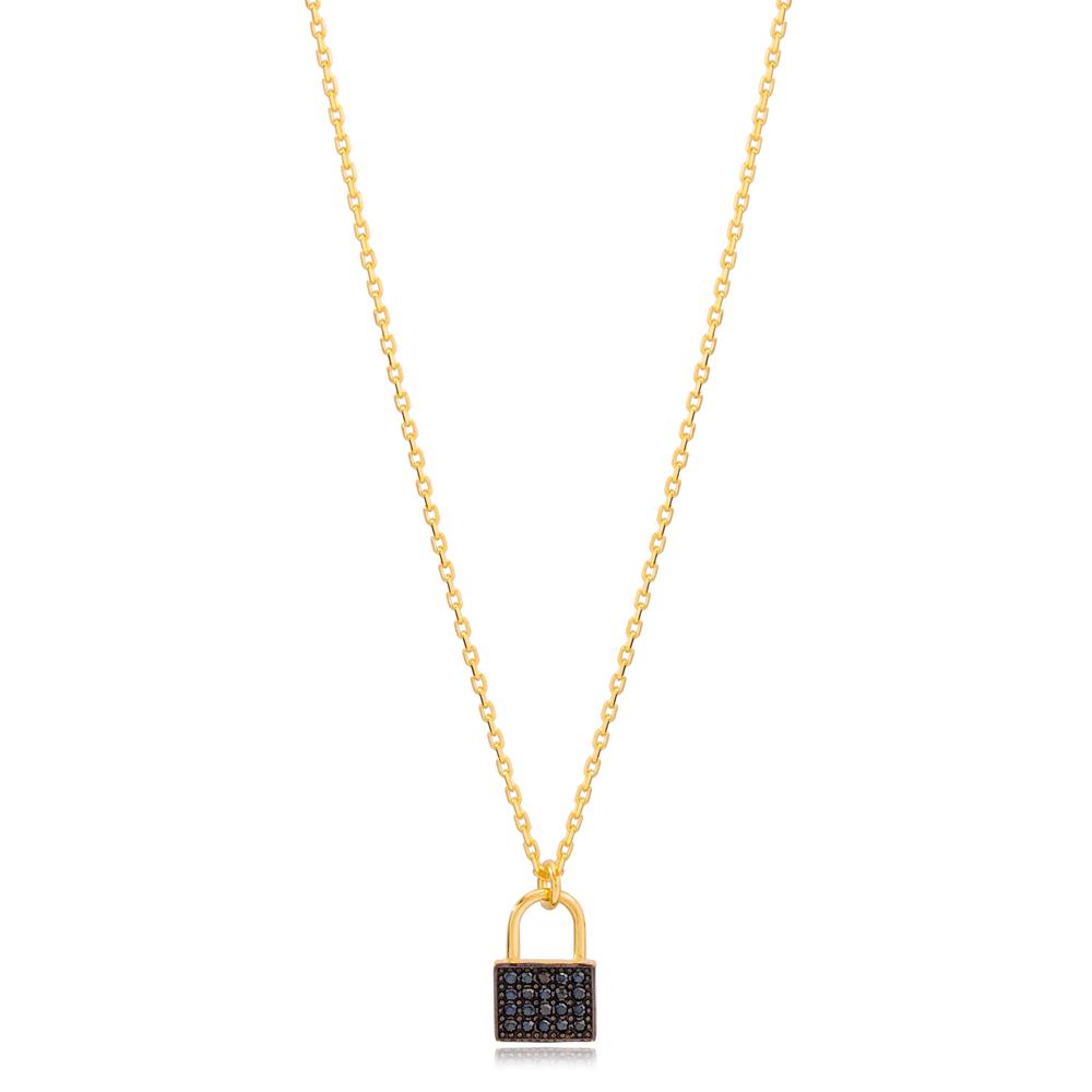New Fashion Black Zircon Padlock Charm Necklace Turkish 925 Sterling Silver Jewelry