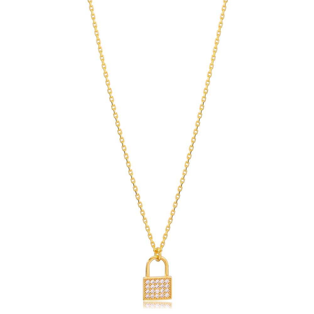 New Padlock Charm Zircon Stone  Necklace Turkish 925 Sterling Silver Jewelry