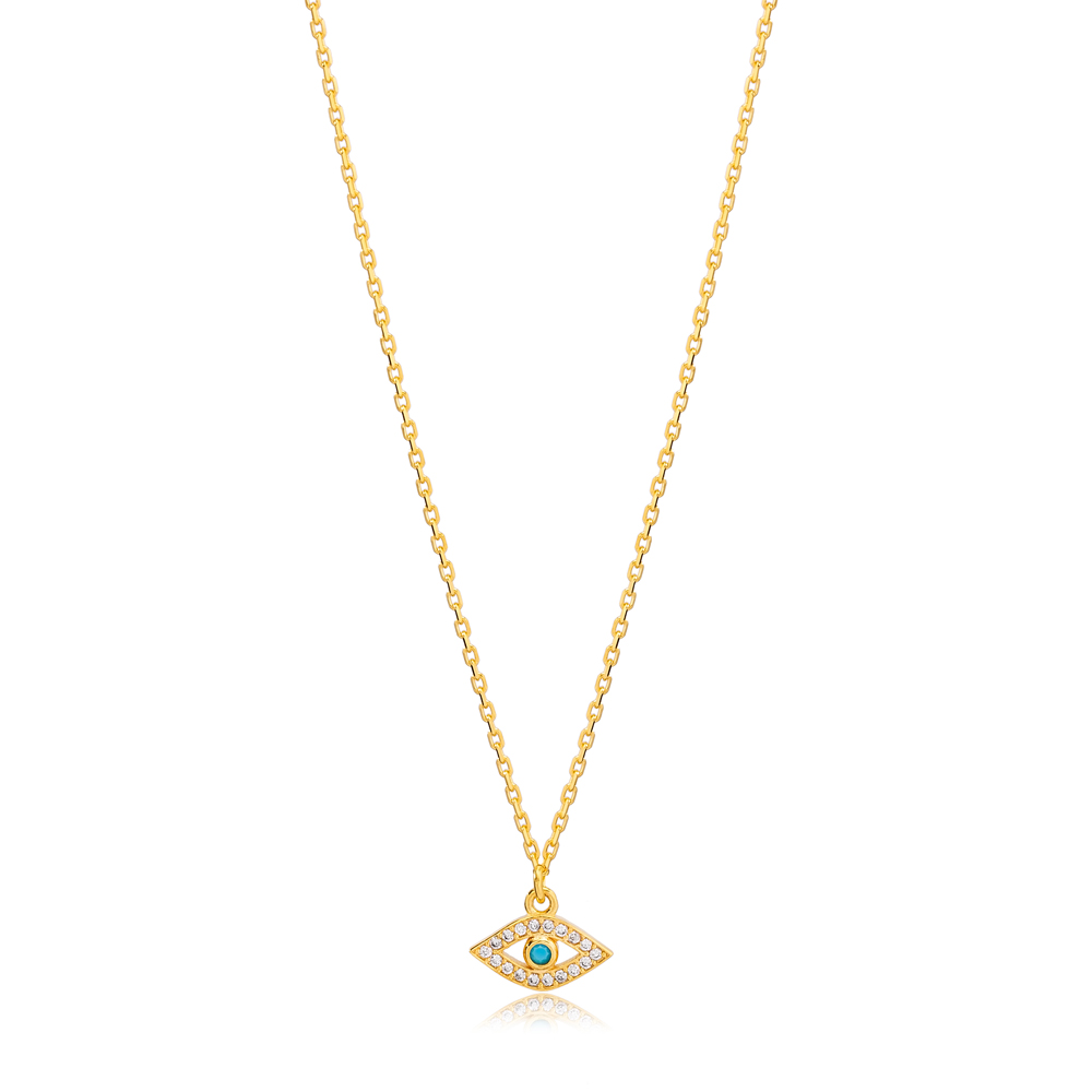 Best Selling Evil Eye Design Turquoise Stone Charm Necklace Turkish 925 Sterling Silver Jewelry