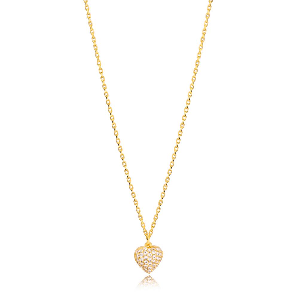 Luxury Fashion Heart Design Zircon Charm Necklace Turkish 925 Sterling Silver Jewelry