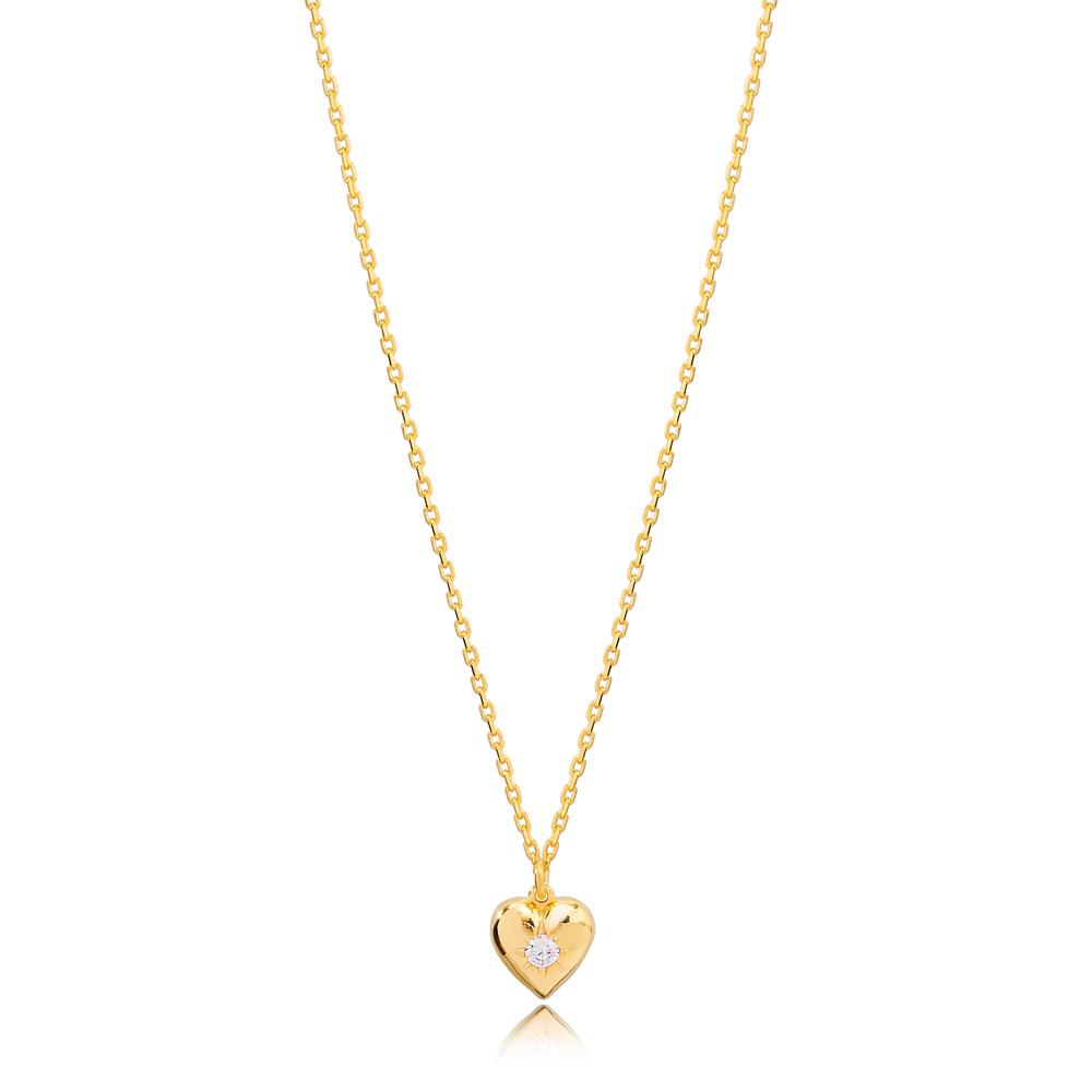 Unique Heart Design Zircon Stone Charm Necklace Turkish 925 Sterling Silver Jewelry