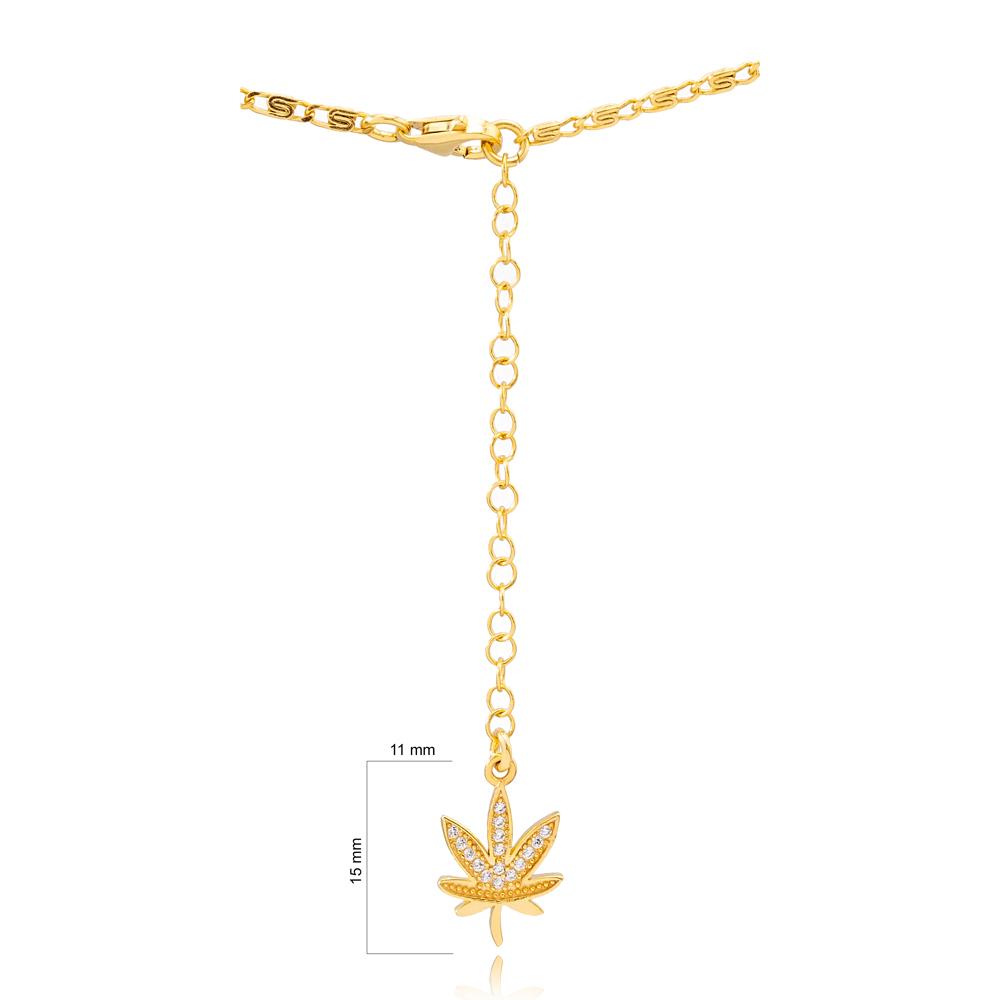 Belly Chain Dainy Leaf Charm CZ Stone Handmade 925 Sterling Silver Body Jewelry