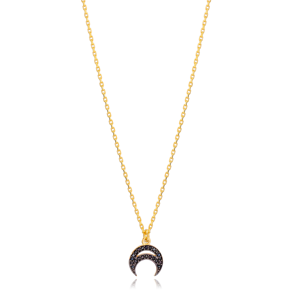Fashionable Black Moon Design Zircon Stone Charm Necklace Turkish 925 Sterling Silver Jewelry