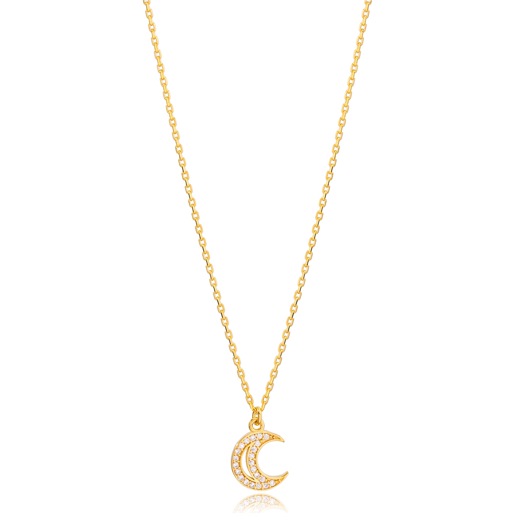 New Arrival Trend Zircon Moon Design Charm Necklace Turkish 925 Sterling Silver Jewelry