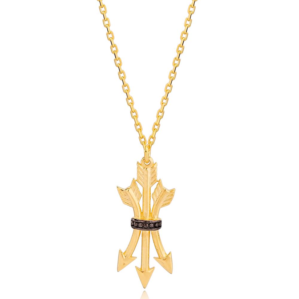 Multi Arrow Stylish Charm Design Handmade Necklace Turkish 925 Sterling Silver Jewelry