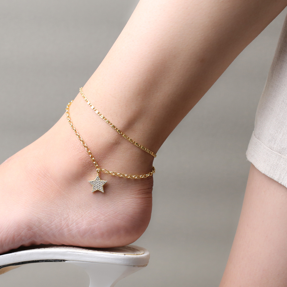 Link and Snail Chain Design Trend Star Charm Anklet Wholesale Handmade 925 Sterling Silver Jewelry