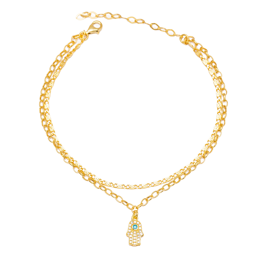 Dainty Zircon and Turquoise Stone Hamsa Charm Dual Chain Anklet Wholesale Handmade 925 Sterling Silver Jewelry