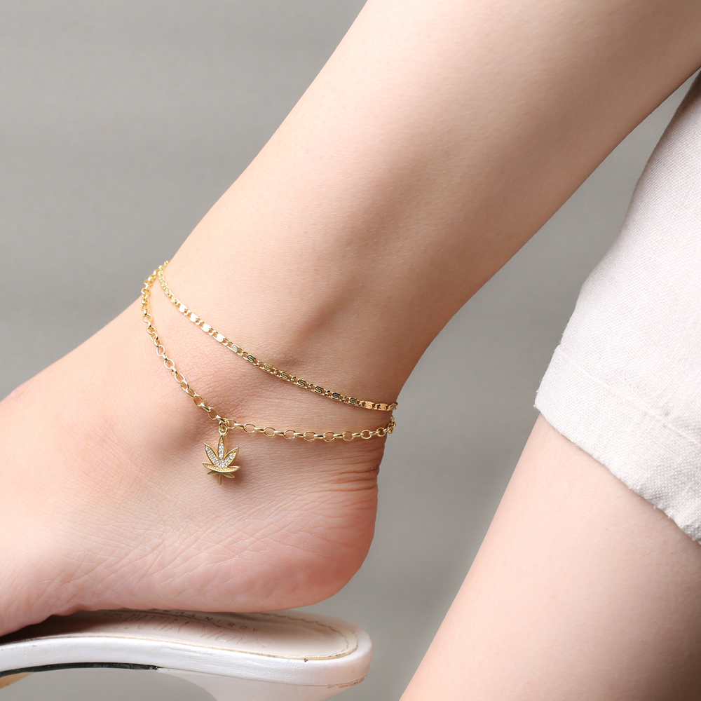 Leaf Zircon Stone Charm Snail and Link Double Chain Anklet Wholesale Handmade 925 Sterling Silver Jewelry