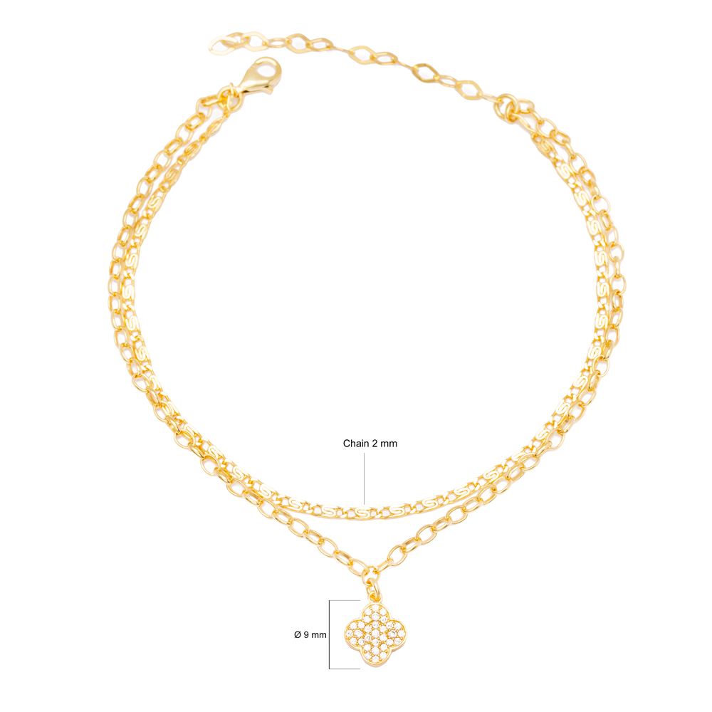Elegant Four Leaf Charm Double Chain Anklet Wholesale Handmade 925 Sterling Silver Jewelry