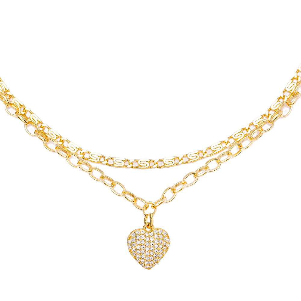 Dainty Heart Charm Double Chain Anklet Wholesale Handmade 925 Sterling Silver Jewelry