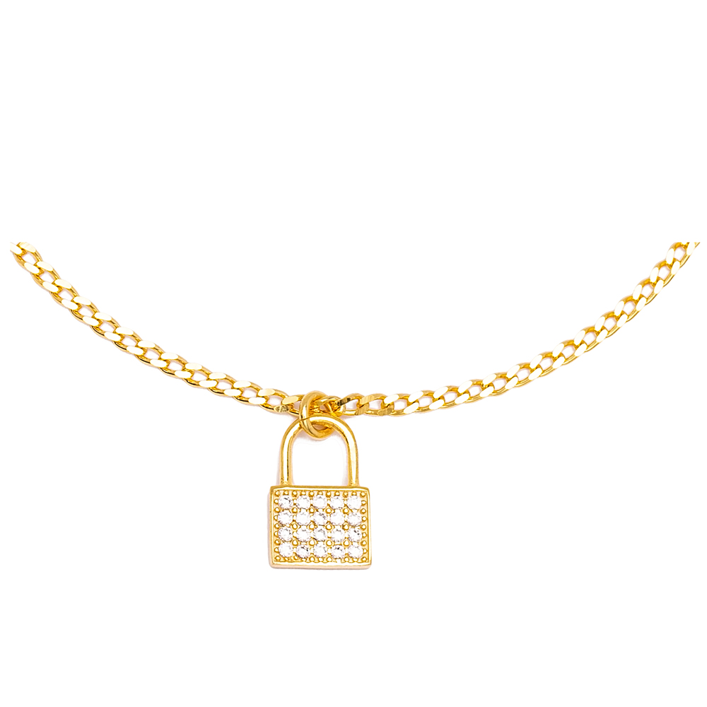 New Padlock Charm Gourmet Chain Anklet Wholesale Handmade 925 Sterling Silver Jewelry