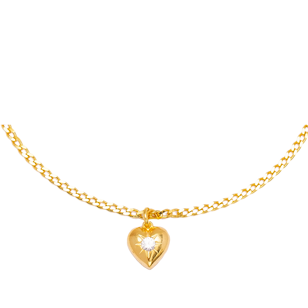 Unique Heart Charm Gourmet Chain Anklet Wholesale Handmade 925 Sterling Silver Jewelry