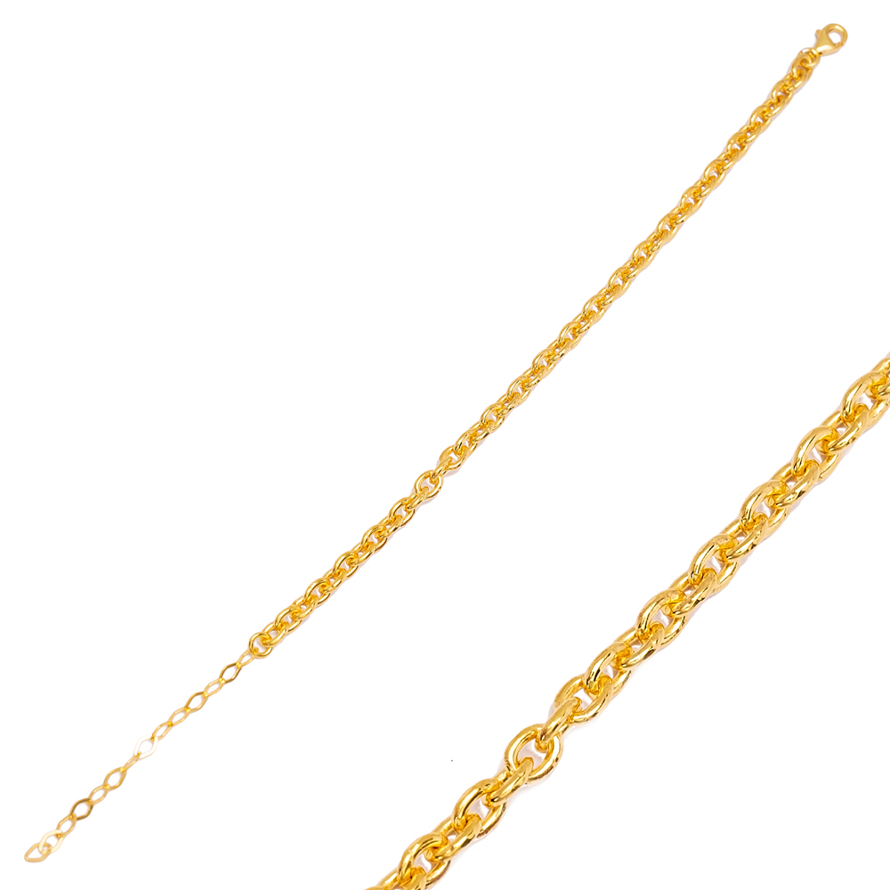 Trendy Link Chain Plain Bracelet Wholesale Turkish 925 Sterling Silver Jewelry