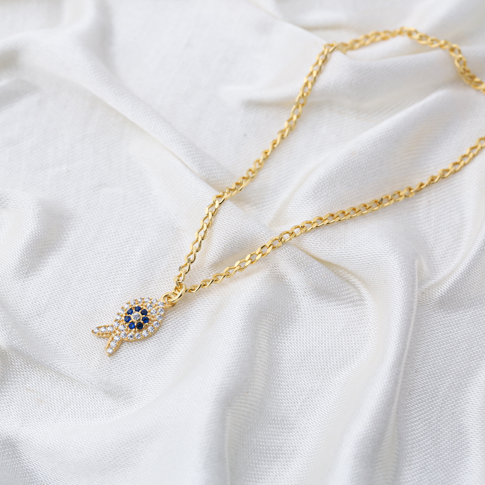 Dainty Fish Design Sapphire and Zircon Stone Gourmet Chain Anklet Wholesale Handmade 925 Sterling Silver Jewelry