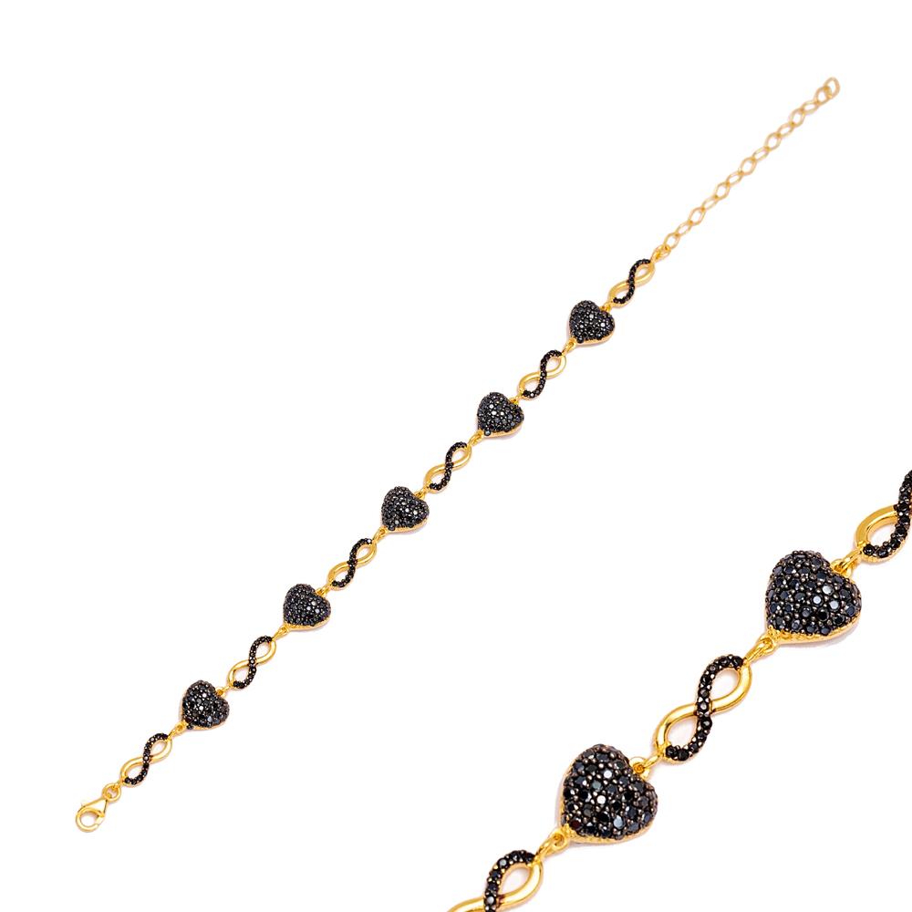 Minimalist Infinity Charm Black Heart Bracelet Handmade Wholesale Turkish 925 Sterling Silver Jewelry