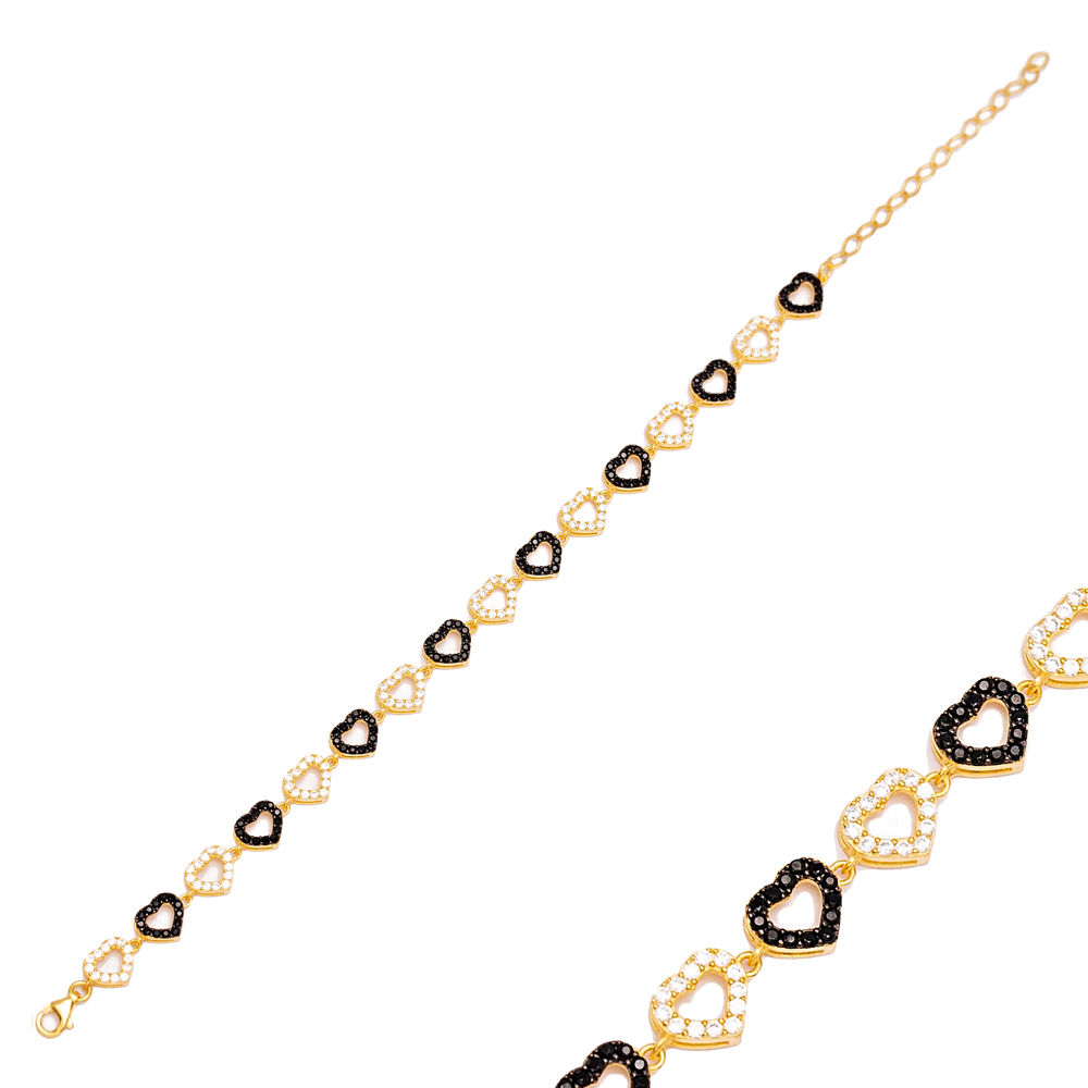 Lovely Mix Heart Design Zircon Stone Charm Bracelet Handmade Wholesale Turkish 925 Sterling Silver Jewelry