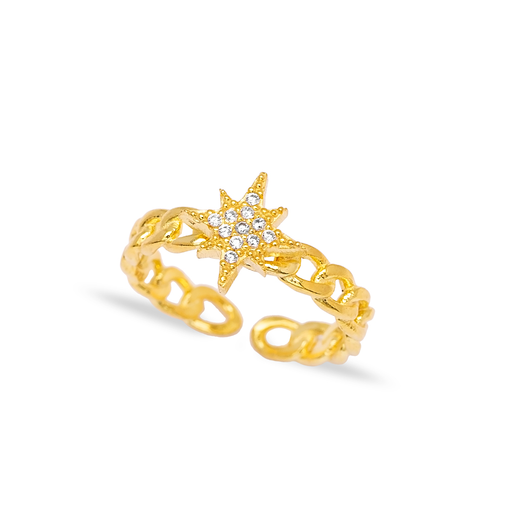 Star Zircon Stone Charm Chain Adjustable Ring Wholesale Turkish 925 Silver Sterling Jewelry