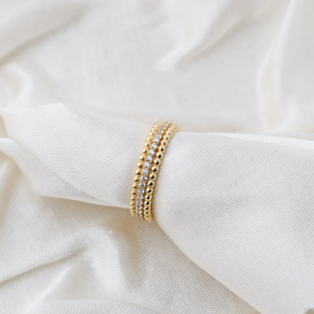 Ball Design Pave Zirconia Stone Band Ring Wholesale Handcrafted Silver Jewelry