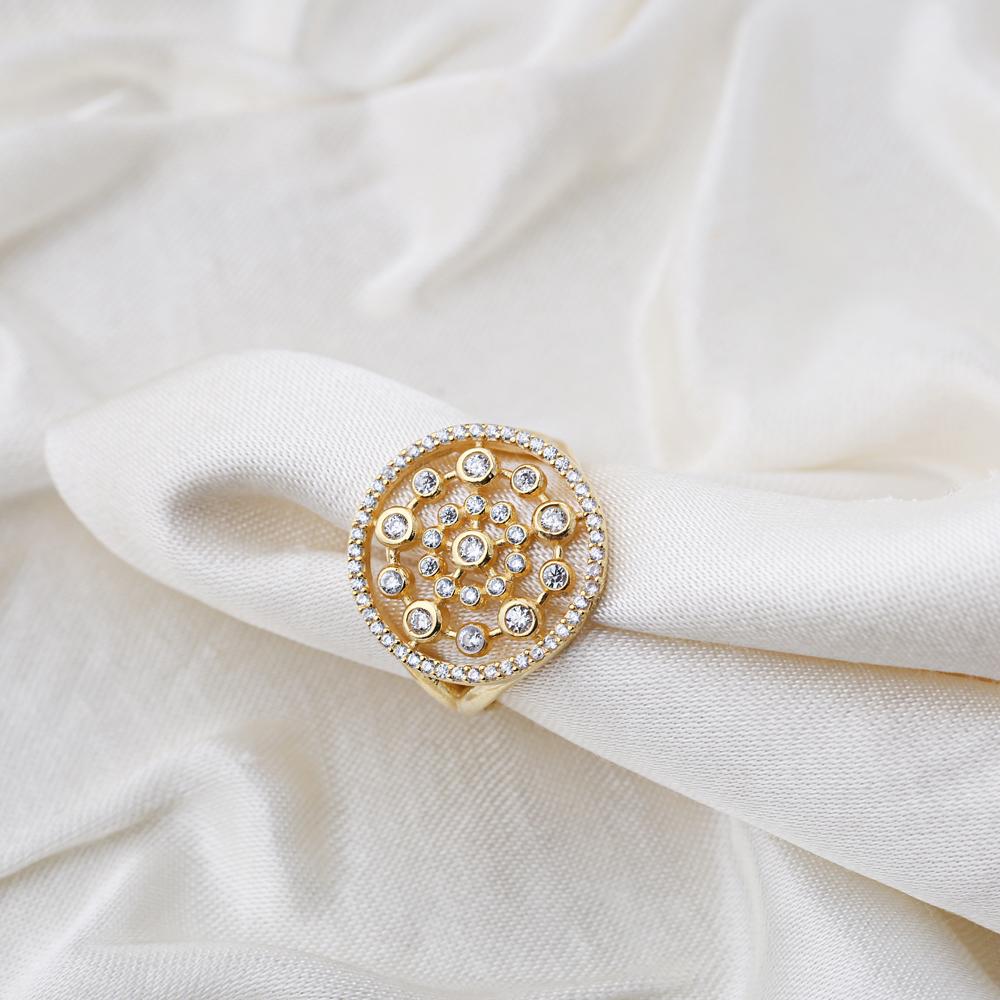 Dainty Round Design Zircon Stone Adjustable Ring Wholesale Turkish 925 Silver Sterling Jewelry