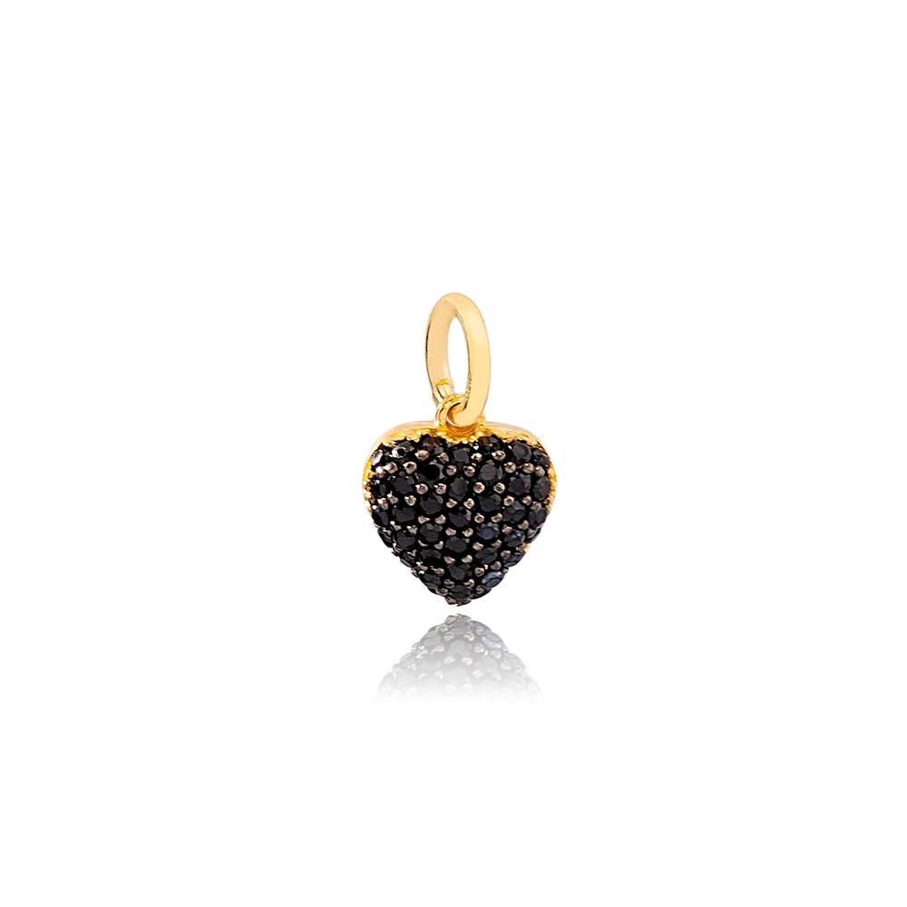 Chic Black Heart Zircon Stone Dangle Charm Wholesale Handmade Turkish 925 Silver Sterling Jewelry