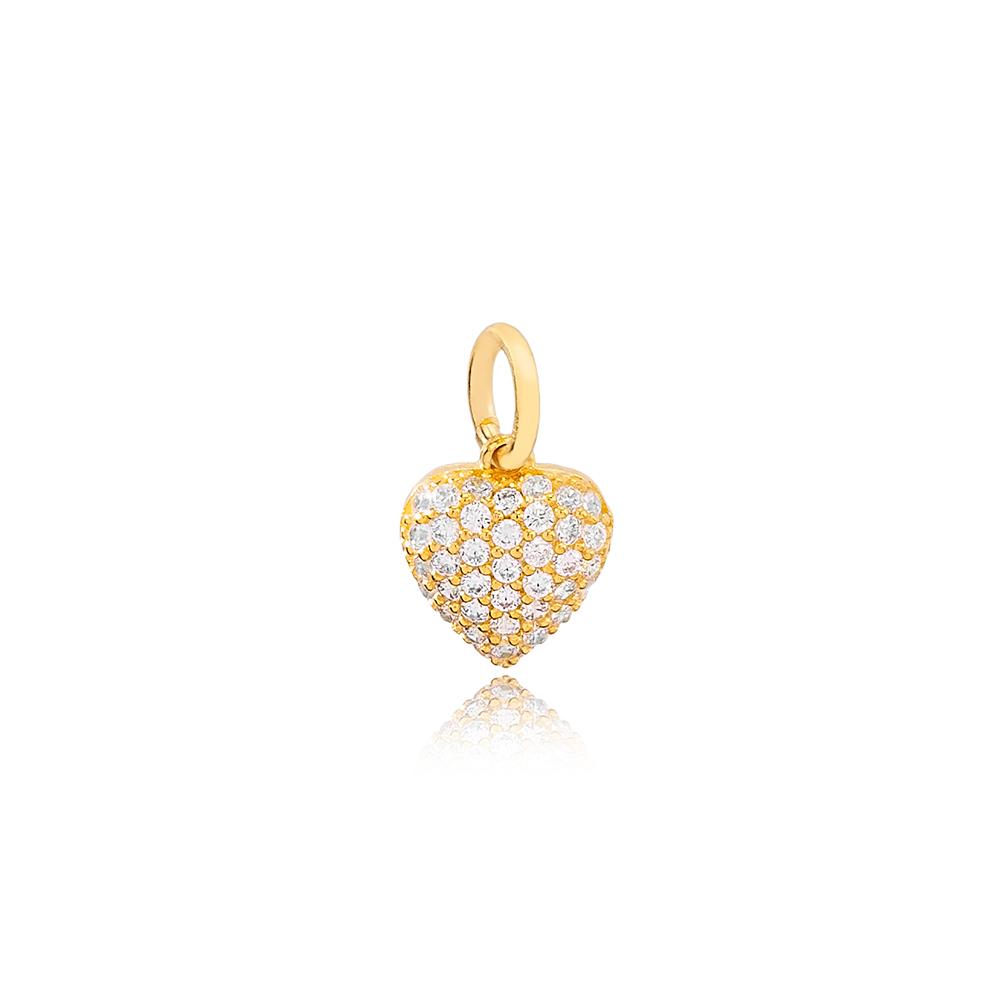 Dainty  White Zircon Stone Heart Dangle Charm Wholesale Handmade Turkish 925 Silver Sterling Jewelry