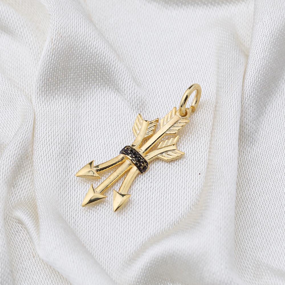 Triangular Arrow Design Necklace Charm  Handmade Turkish  Wholesale  925 Sterling Silver Jewelry