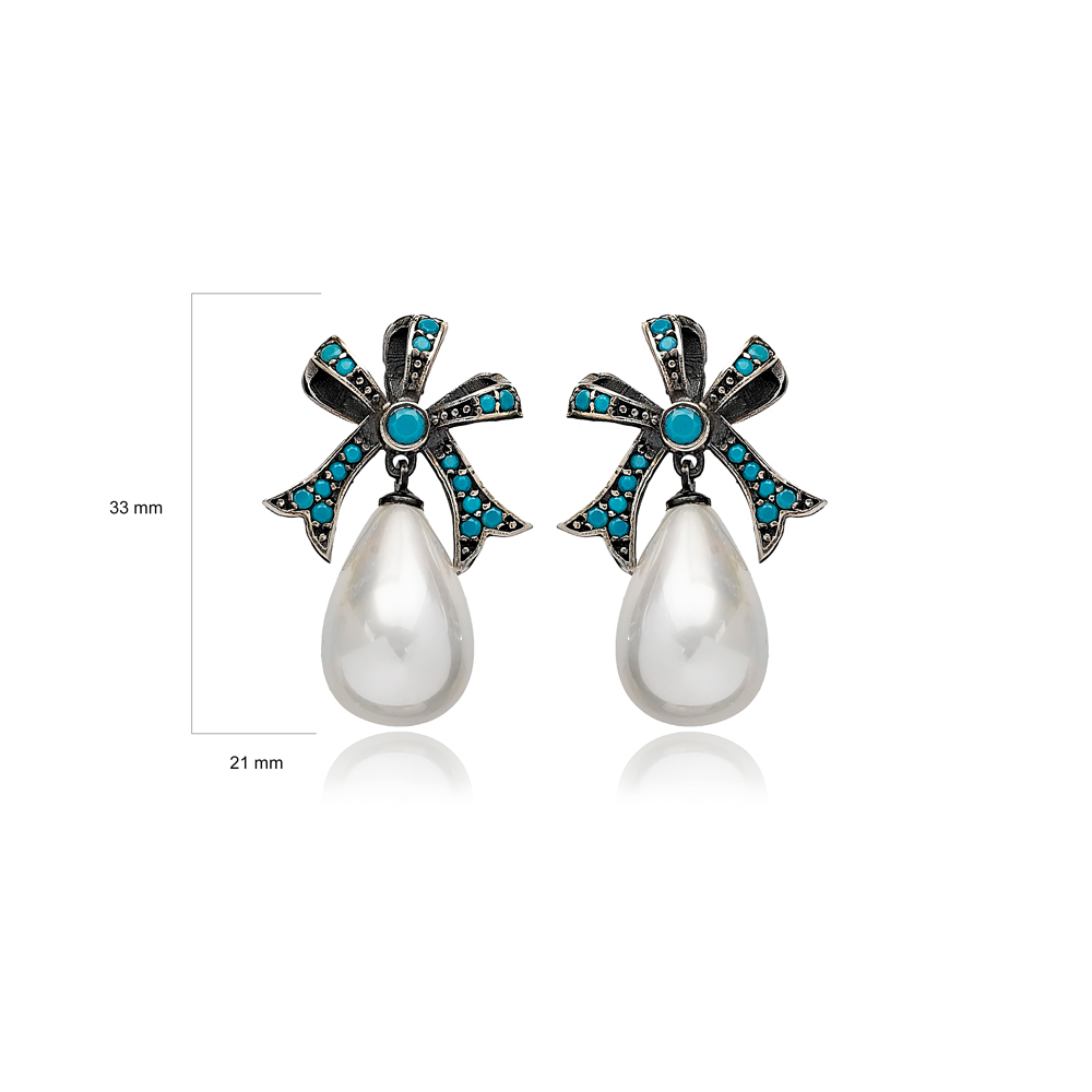 Ribbon Turquoise Design Mother of Pearl Charm Oxidized Stud Earrings Turkish Handmade 925 Sterling Silver Jewelry