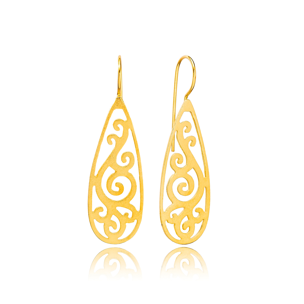 Authentic Vintage Design 22K Gold Plated Dangle Earrings Handcrafted Wholesale 925 Sterling Silver Jewelry