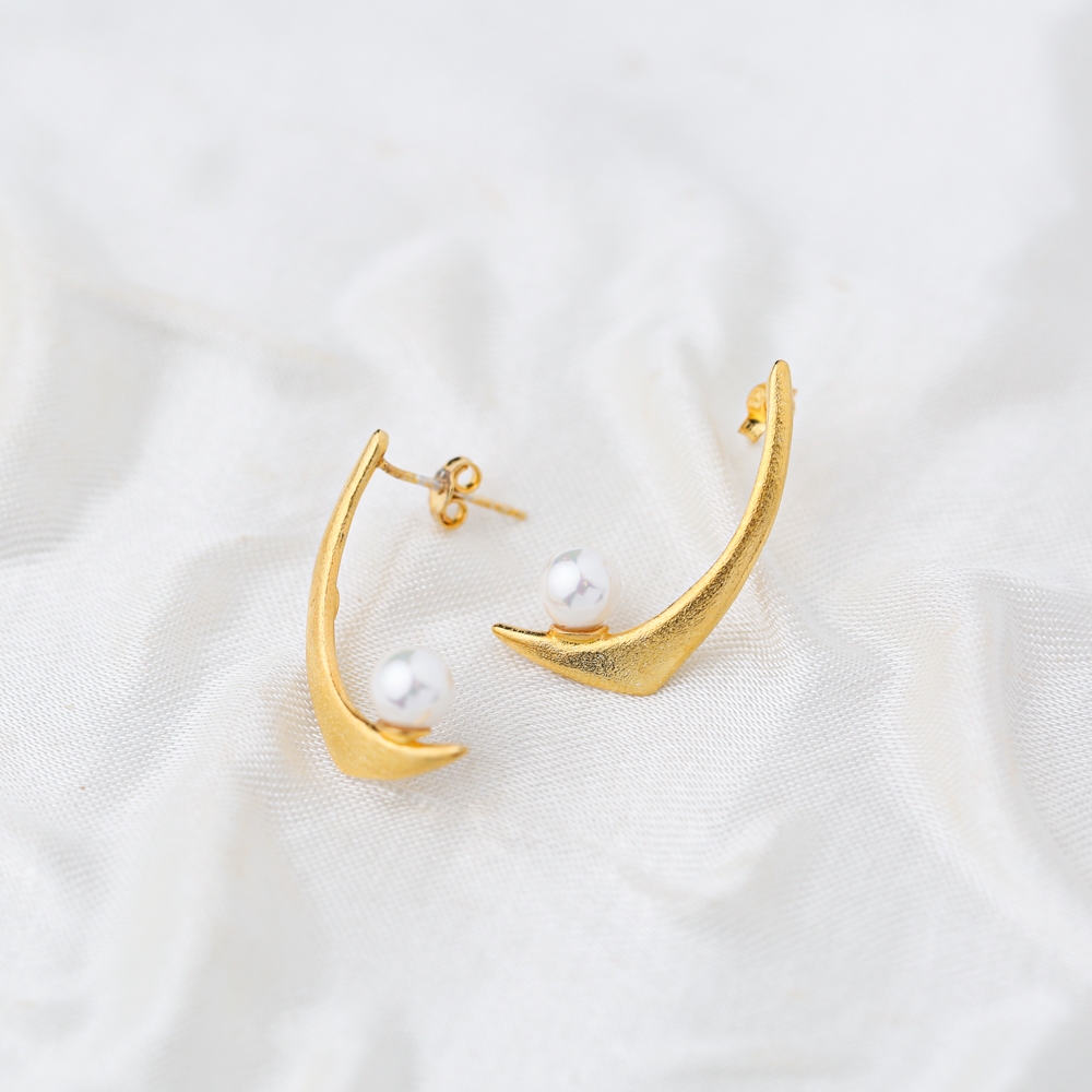 Unique Pearl Design 22K Gold Plated Stud Earrings Turkish Handmade 925 Sterling Silver Jewelry