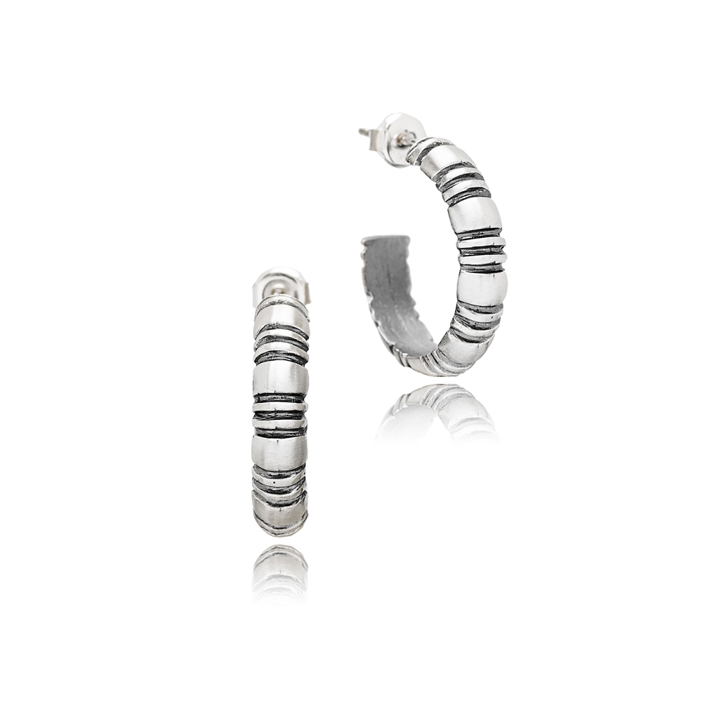 Plain Oxidized Plated Stud Hoop Earrings Handcrafted Wholesale 925 Sterling Silver Jewelry