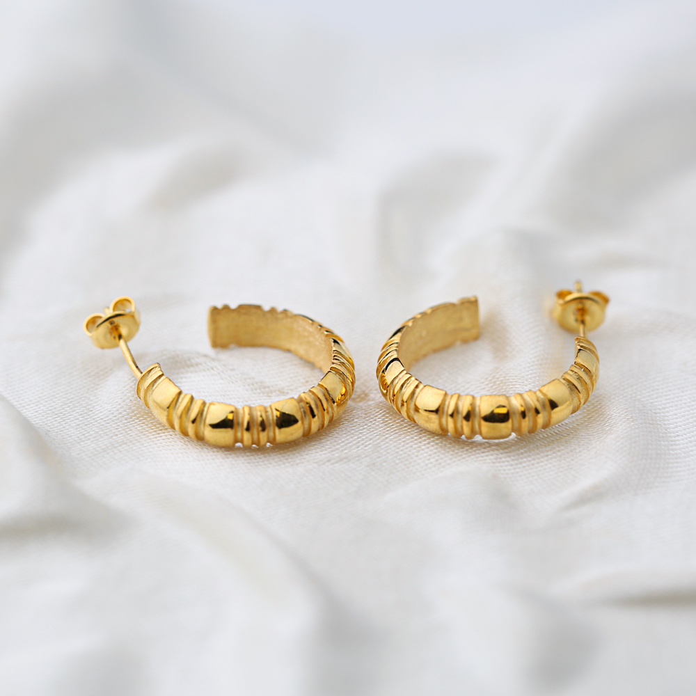22K Gold Plated Plain Stud Hoop Earrings Handcrafted Wholesale 925 Sterling Silver Jewelry