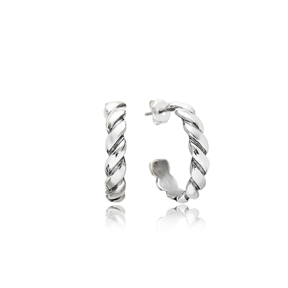 Twisted Stud Design Oxidized Plated Handcrafted Wholesale 925 Sterling Silver Hoop Earrings Jewelry