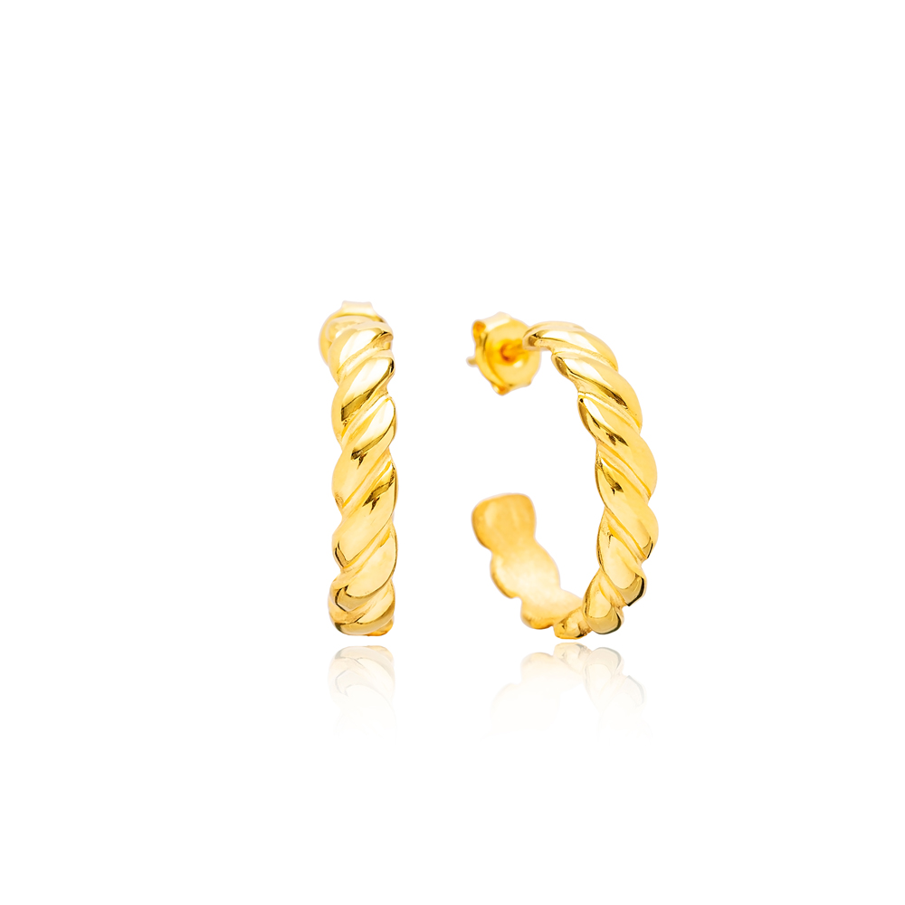 Twisted 22K Gold Plated Stud Design Handcrafted Wholesale 925 Sterling Silver Hoop Earrings Jewelry