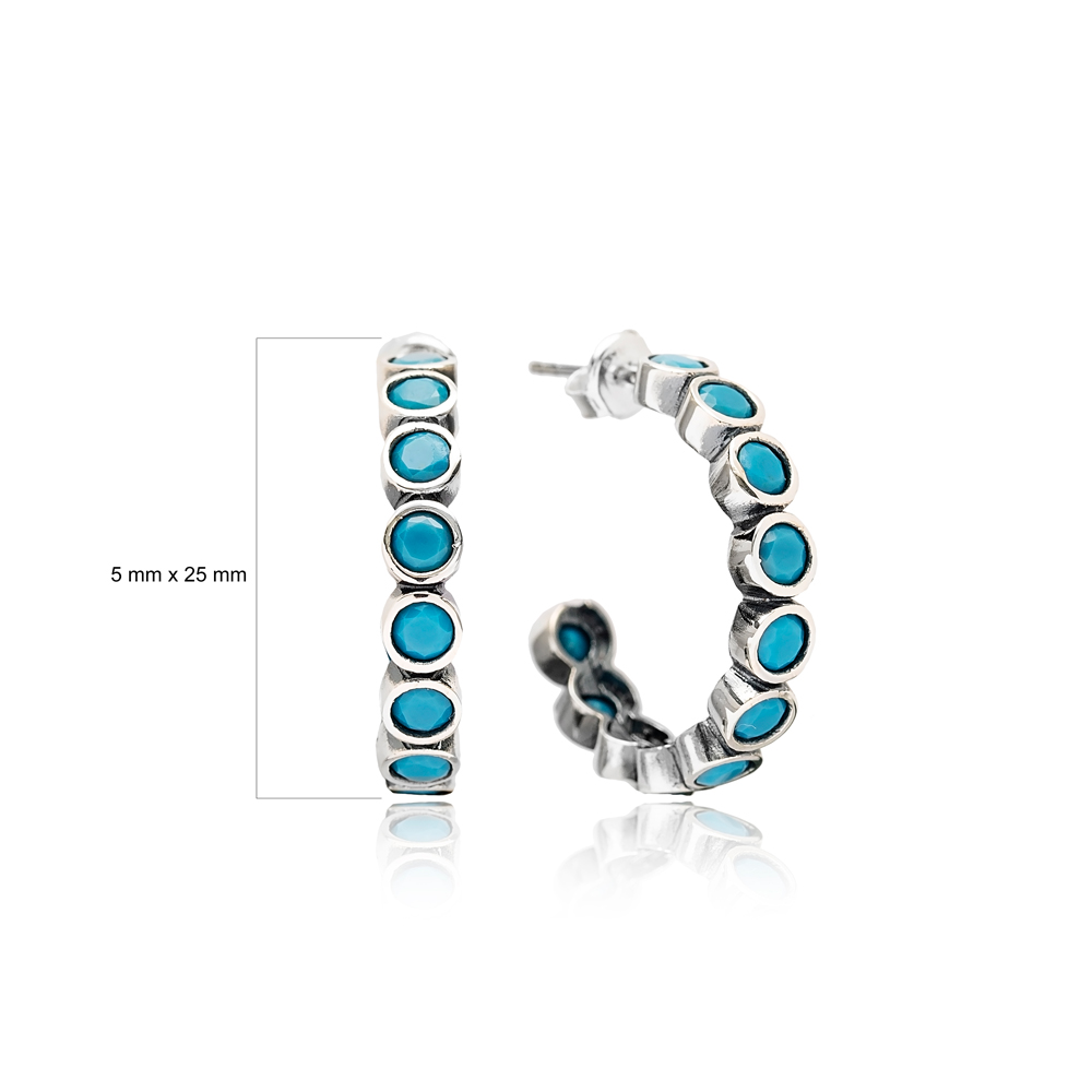 Multi Turquoise Stone Oxidized Plated Hoop Earrings Handcrafted Turkey Wholesale 925 Sterling Silver Jewelry