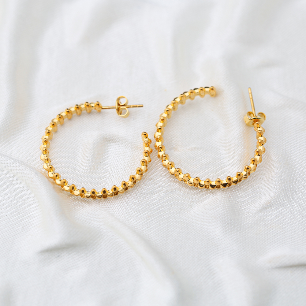Unique Style 22K Gold Plated Hoop Earring Handcrafted Wholesale 925 Sterling Silver Jewelry
