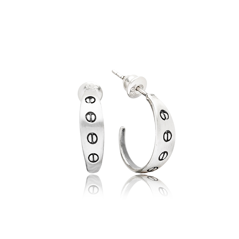 Symbol Stud Style Oxidized Plated  Handcrafted Wholesale 925 Sterling Silver Hoop Earrings Jewelry