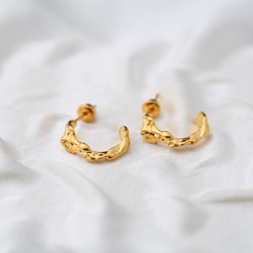 Irregular Shape 22K Gold Plated Hoop Earrings  Handcrafted Wholesale 925 Sterling Silver Turkish Jewelry