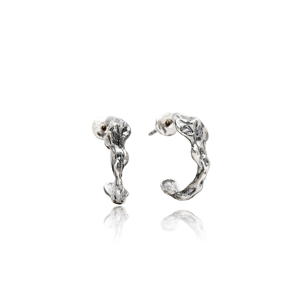 Theia Oxidized Irregular Design Handcrafted Wholesale 925 Sterling Silver Turkish Hoop Earrings Jewelry